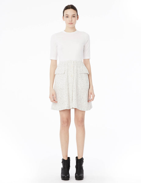 short dress with linen center buttoned skirt and cotton jersey top