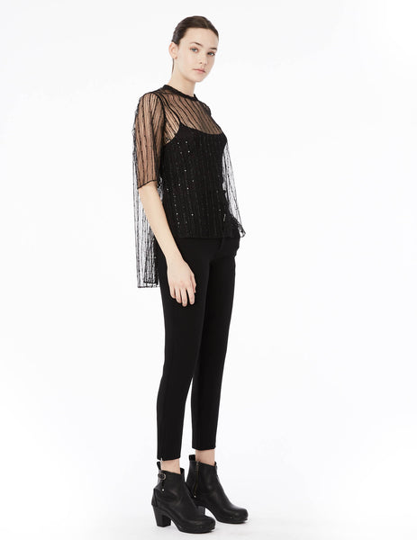 sequin tulle hyphen blouse with half-length sleeves and back button placket closure