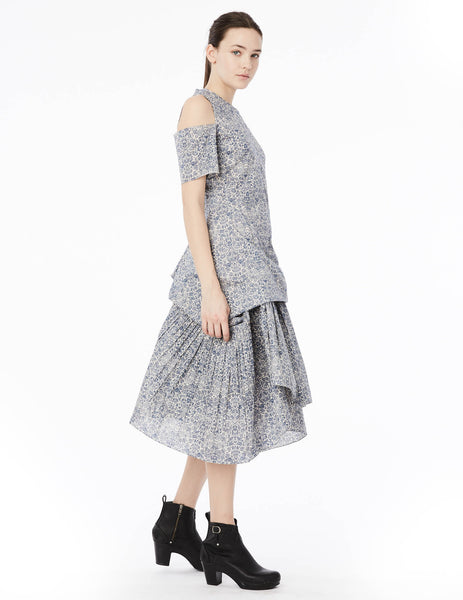 short dress with asymmetric gathered panels