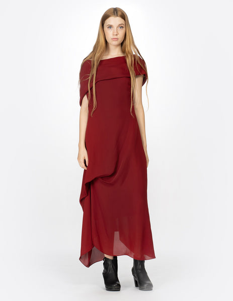 morgane le fay long red silk dress
