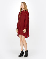 morgane le fay long sleeve double georgette button-down shirt with an asymmetrical curved back panel.
