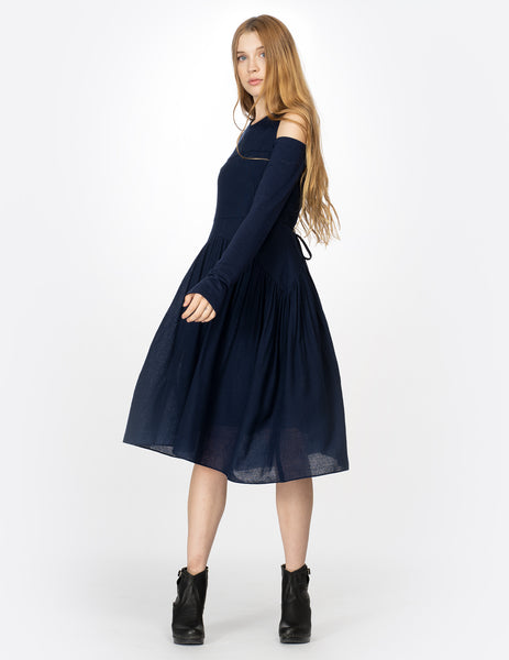 morgane le fay knee-length wool voile dress with open shoulder details. made in new york city.
