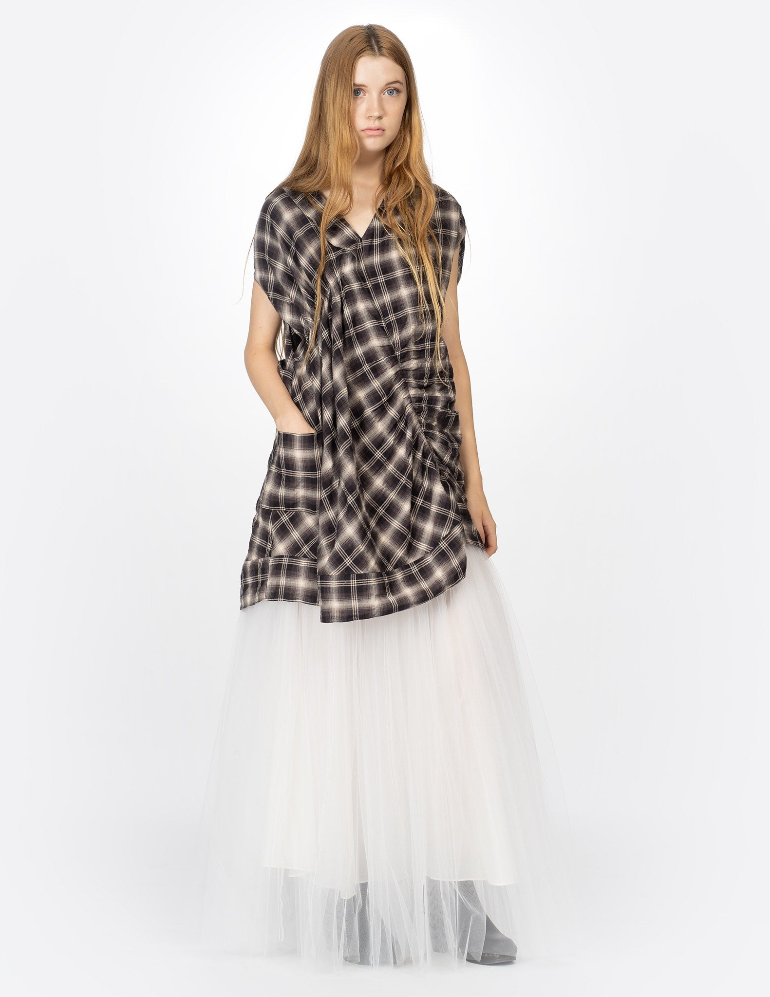 morgane le fay plaid dress with v-neck collar