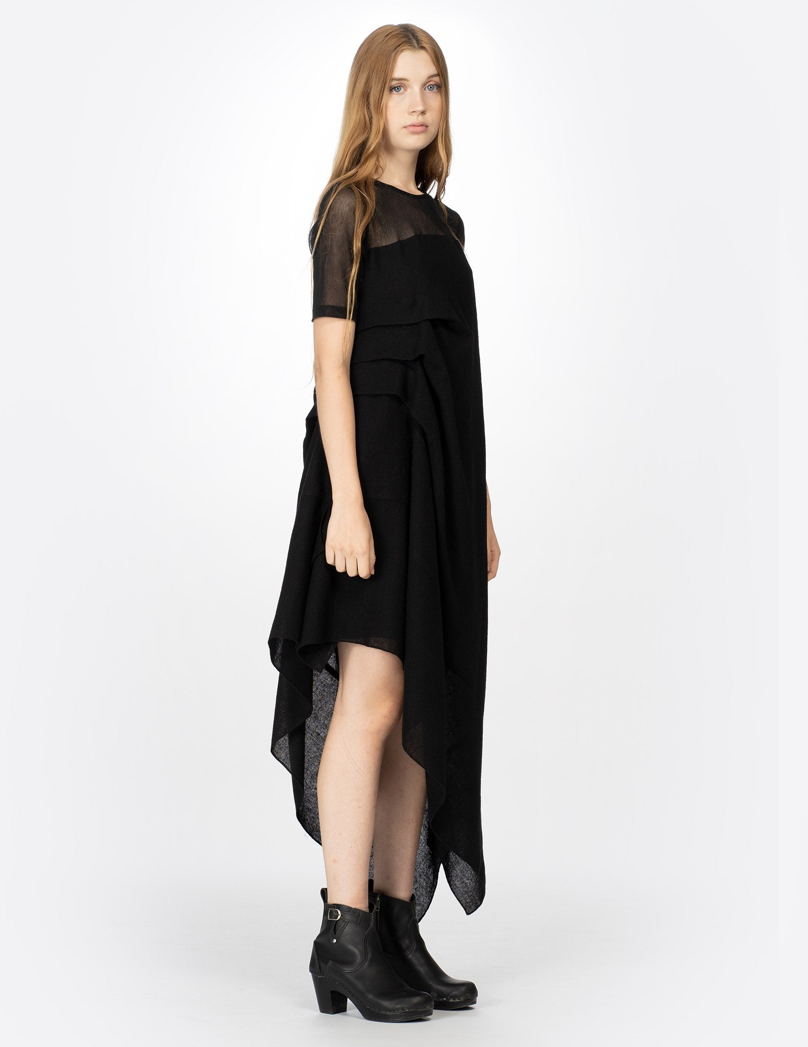 morgane le fay wool mid-length dress with layered drapes, short cotton tulle sleeves. made in new york.