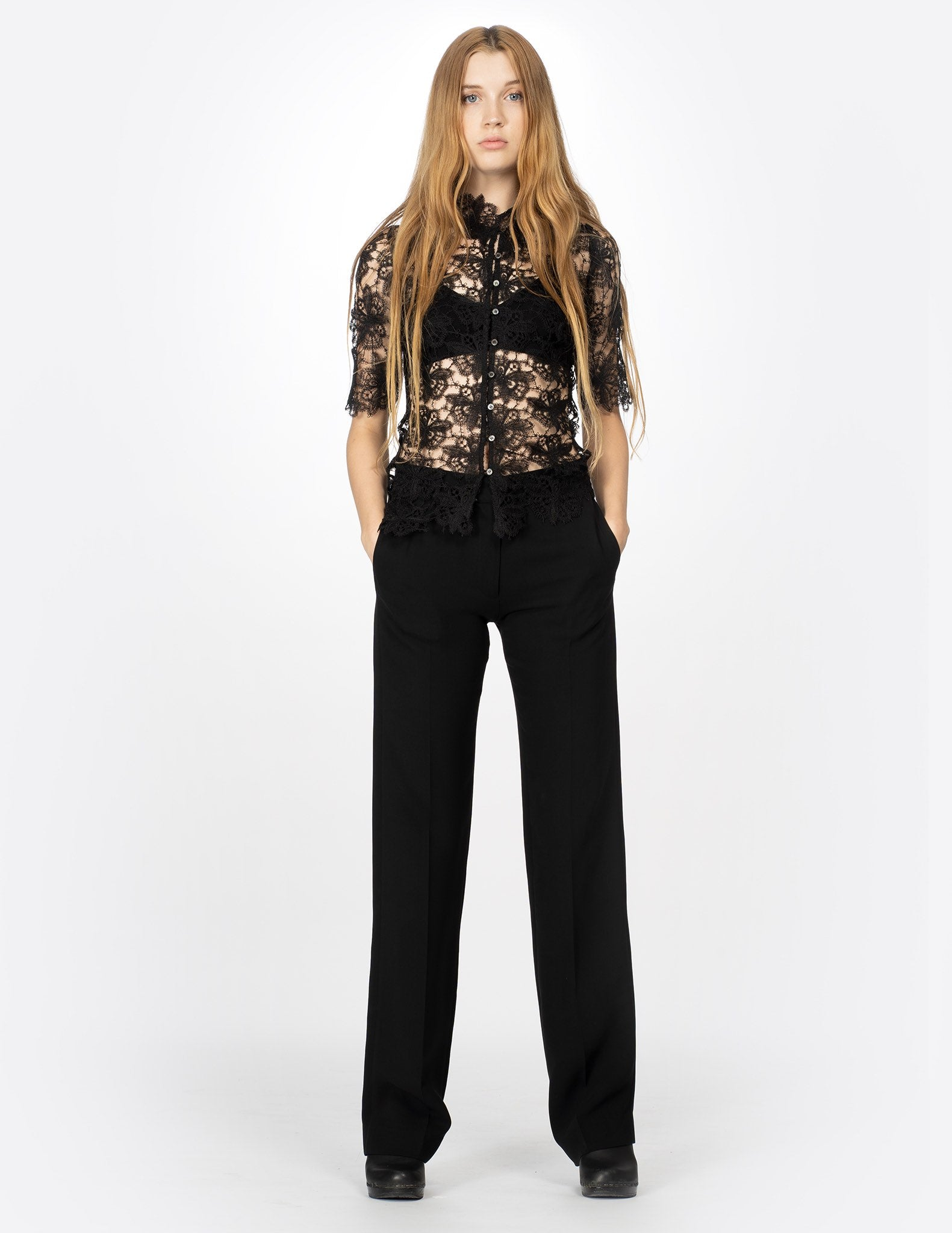 morgane le fay embroidered lace blouse with 3/4 sleeves