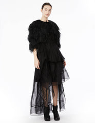 ostrich feather coat.