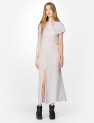 morgane le fay midi double georgette dress with asymmetrical drapes