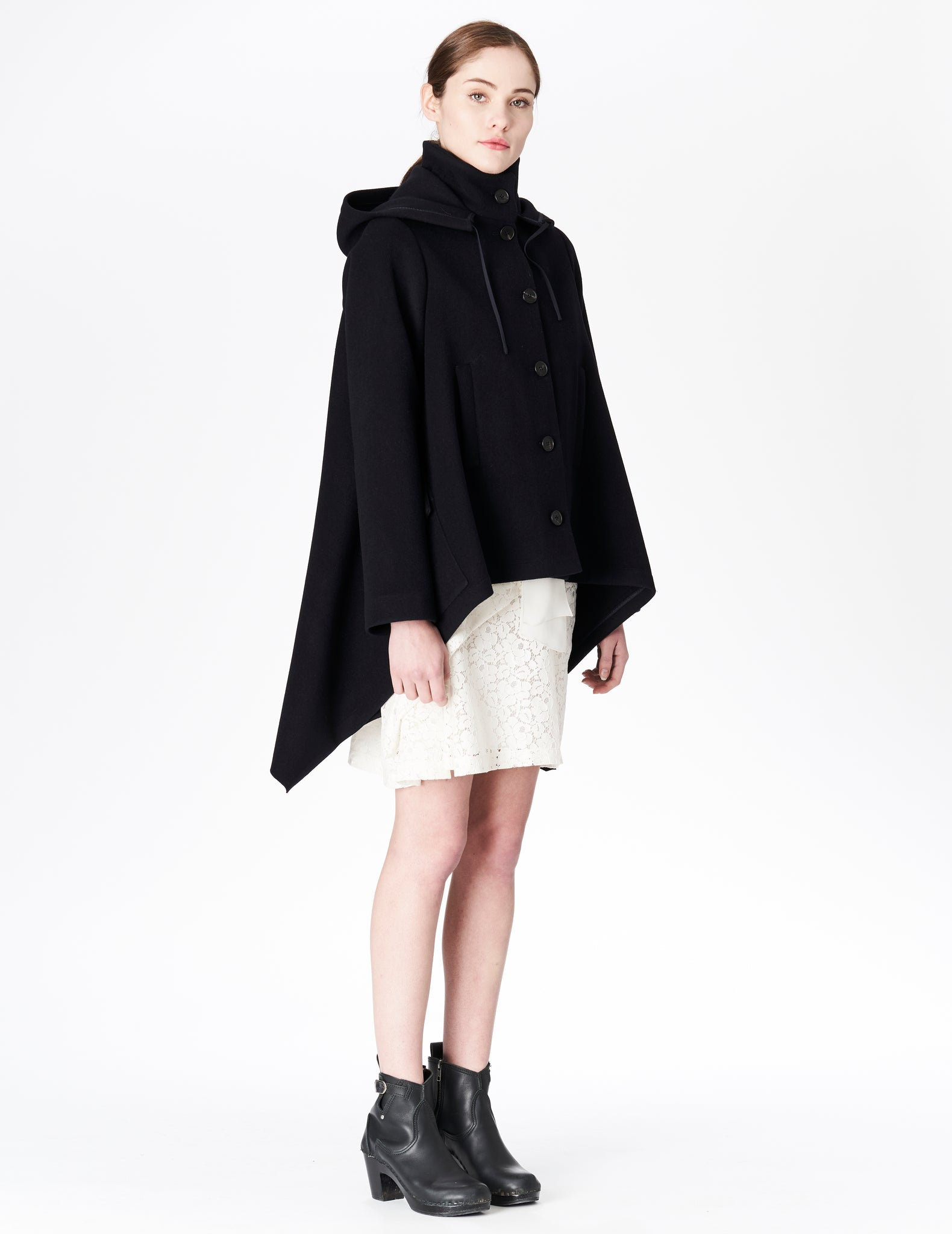morgane le fay asymmetrical wool coat with hood and pockets. made in new york.