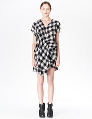 morgane le fay plaid tunic with asymmetrical gathered details and v-neckline. made in new york.