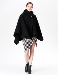 morgane le fay wool cape coat with hood and broadcloth buckle tie detail. made in new york.