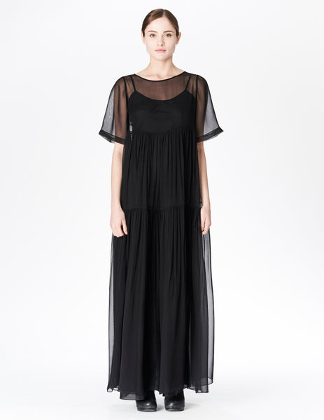 morgane le fay floor length silk chiffon gown with open neckline. made in new york.
