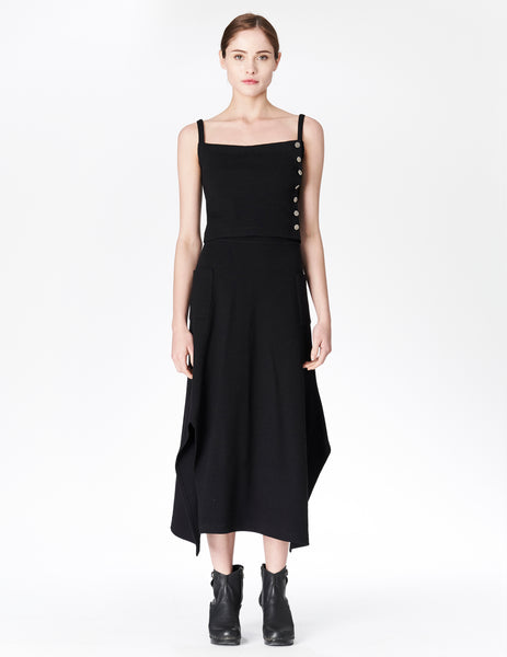 morgane le fay heavy wool jersey fitted skirt with pockets.