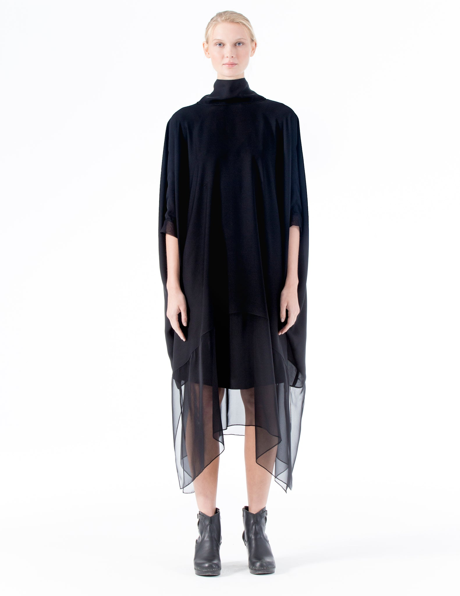 oversized double georgette dress with an open back, self-tie bow at the neck, and chiffon layered skirt. interior ties to create optional drapery. made in new york city.