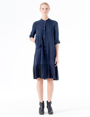 midi double georgette dress with 3/4 length cuffed sleeves and a ruffled hem.