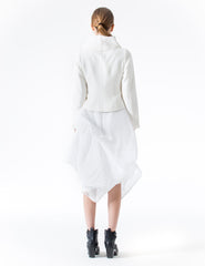 short fitted jacket with long sleeves and oversized structural collar. made in new york city.