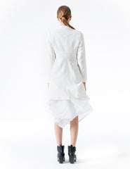 fitted 4-ply jacket with crossed closure, asymmetrical drape, and princess seamed back. made in new york city.