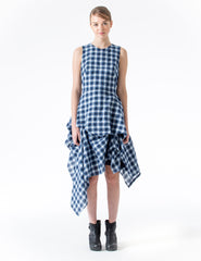 fitted sleeveless dress with asymmetrically draped skirt. made in new york city.