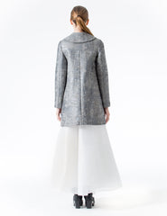 a-line coat with 3/4 loose sleeves and rounded collar. made in new york city.