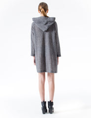 oversized wrap coat with hood and side button closure. made in new york city.