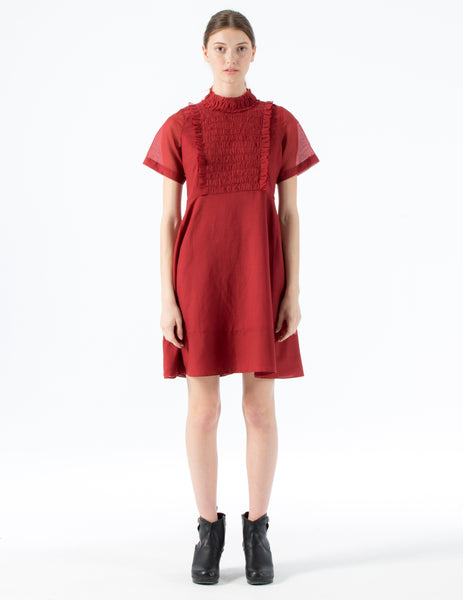 short dress with ruffled collar and center for front ruched detail.