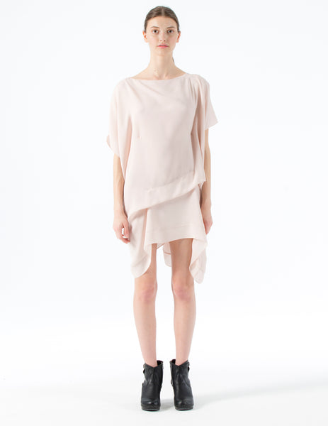 oversized double georgette dress with drapes and interior ties to adjust fit.