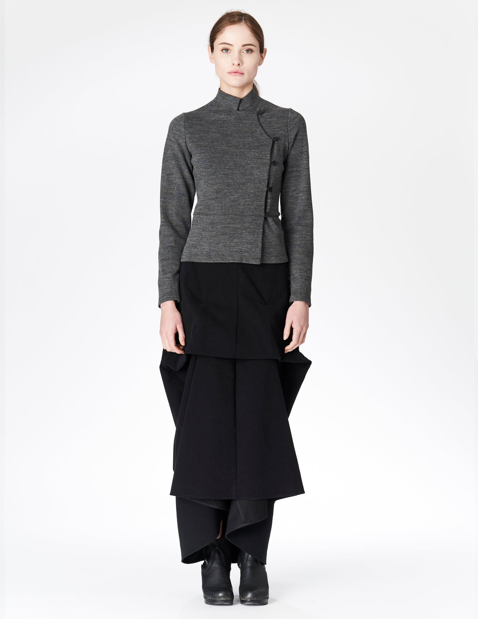 morgane le fay floor length moleskin skirt with interior ties to create front structured drapes.