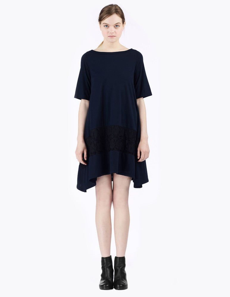 short a-line dress with lace inset