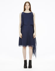 morgane le fay draped silk chiffon dress