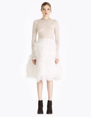 morgane le fay knee length feather skirt