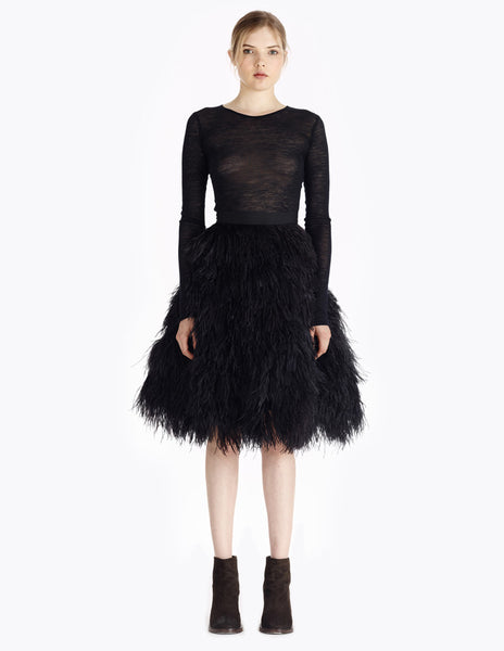 morgane le fay tea-length, cruelty-free ostrich feather skirt with structured waistband. made in new york.