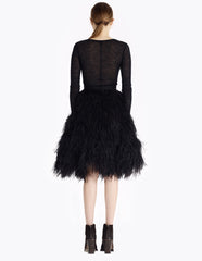 morgane le fay black cruelty-free ostrich feather skirt