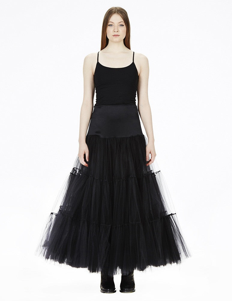 morgane le fay long, layered tulle crinoline skirt.