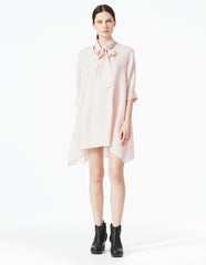 morgane le fay oversized, double georgette tunic with curved hem, v-shaped neck and elegant tie at neck.