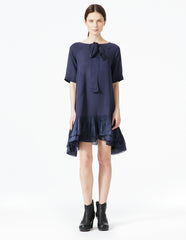 morgane le fay a-line silk dress with ruffle hem.
