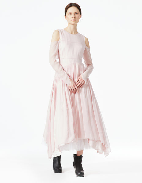 morgane le fay floor length silk chiffon gown with long sleeves and open shoulders. made in new york.