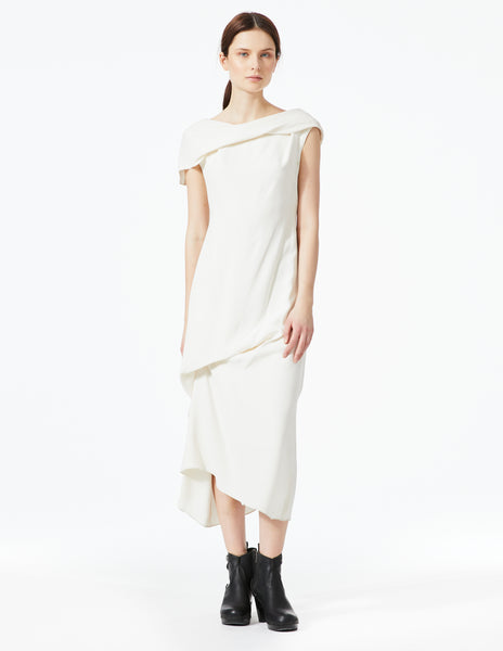morgane le fay white silk dress with drapes