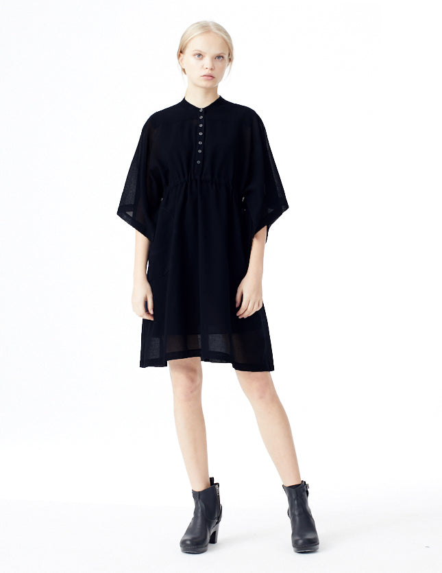 black short kimono sleeve dress with buttons