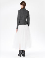 morgane le fay fitted long sleeve cardigan in heavy wool jersey