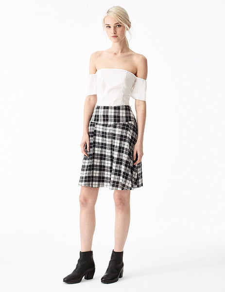 marino cotton plaid black and white short skirt