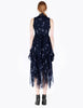 Navy printed chiffon sleeveless mock neck draped dress