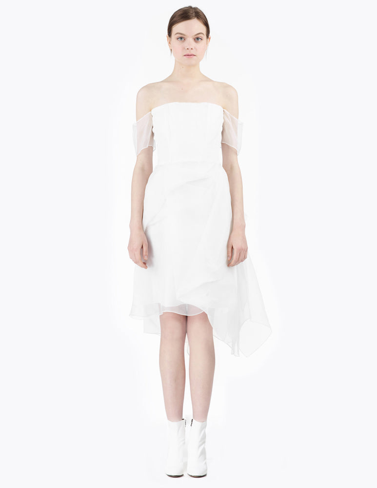 morgane le fay off the shoulder short silk organza gown with fitted bodice. open neckline. made in new york.