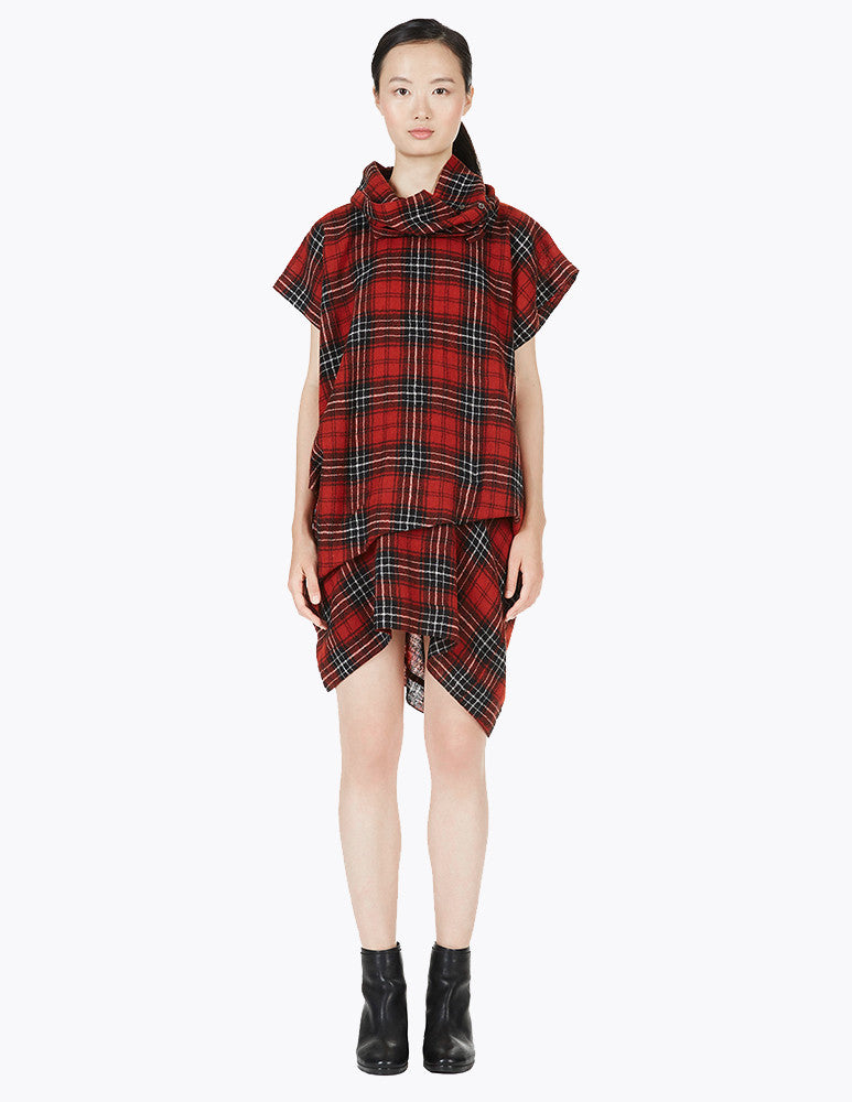 plaid loose dress with drapes and paneled collar