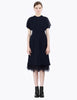ostrich trim dress with cap sleeves