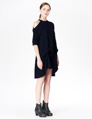 morgane le fay cotton t-shirt dress with single exposed shoulder, optional interior ties, and a kangaroo pocket. made in new york.