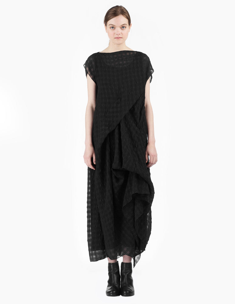 long asymmetrical dress with ties to create drapery