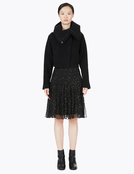 short wool coat with oversized collar
