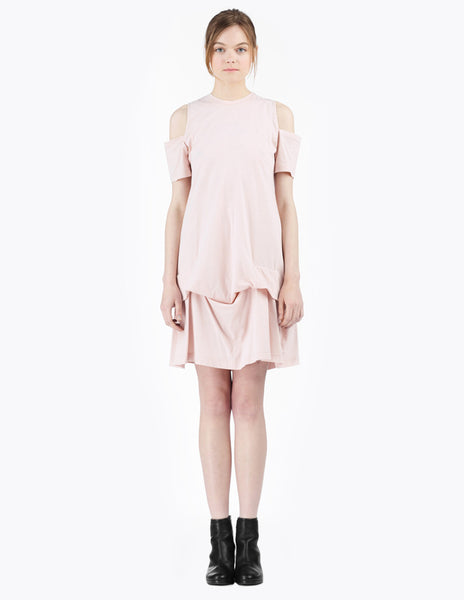 short cotton dress with shoulder cut-outs and draped skirt