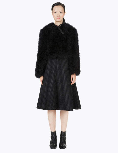short  cruelty free marabou feather coat with hood