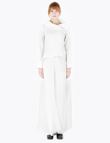 White crisp spring jacket with high draped collar