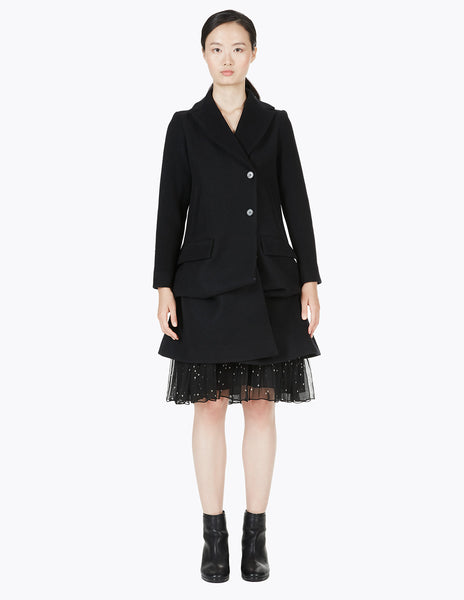 a-line coat with notched collar and ties to create drapery